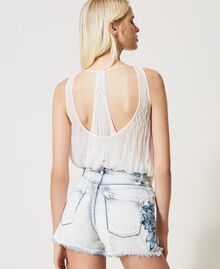 """Denim shorts with patch embroideries Embroidered """"Beach"""" Blue Woman 211TT243A-03"""