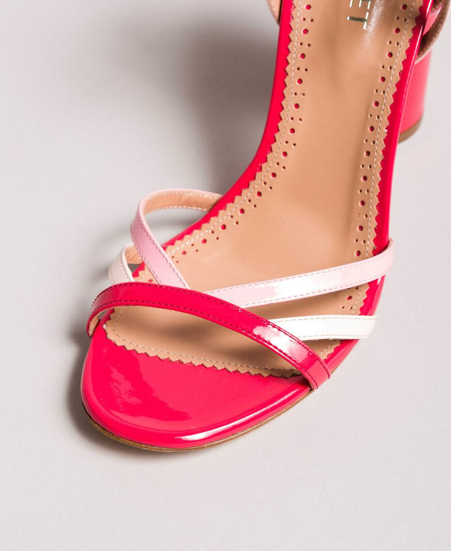 Patent leather sandals with strap Bud Pink Woman 191TCP014-05