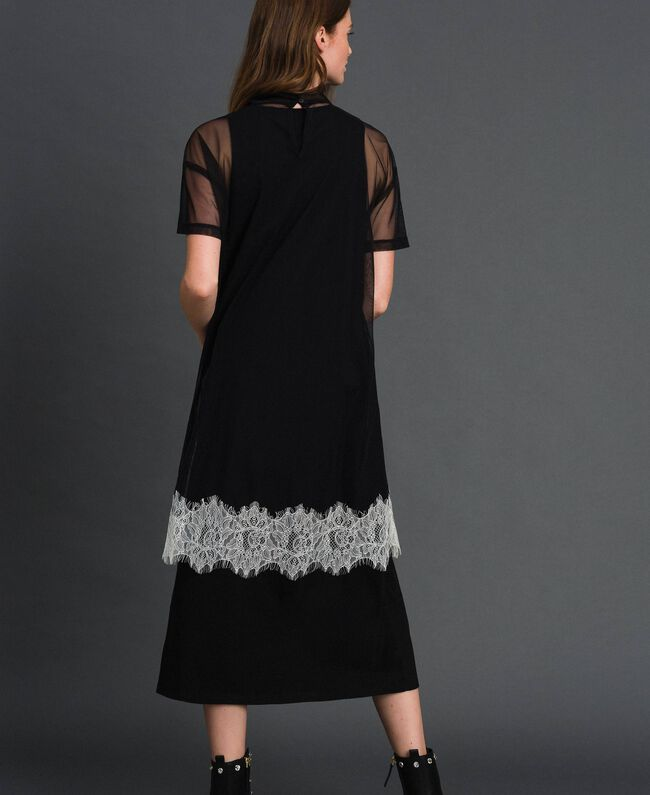Midi dress with lace flounce and logo Black Woman 192ST2194-03