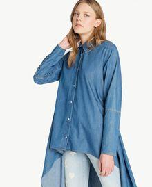 Denim maxi shirt Denim Blue Woman JS82U2-04