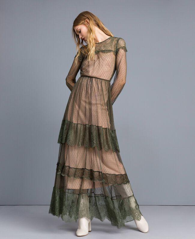 Robe longue en tulle plumetis et dentelle Vert Forêt Femme TA82XA-01