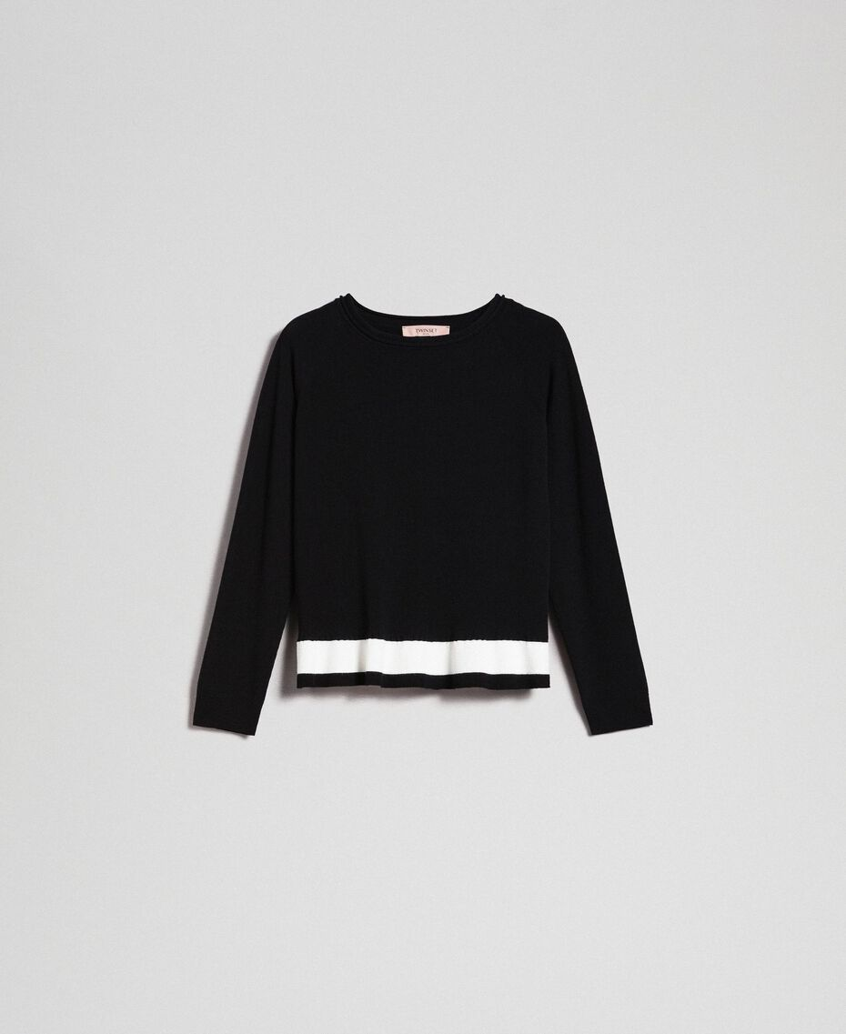 "Contrasting band jumper Black / ""Papyrus"" White Woman 192TP3104-0S"