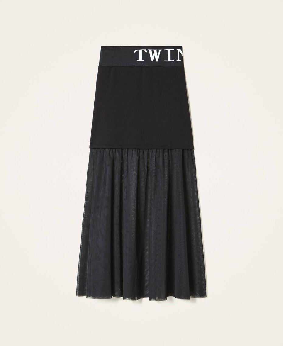 Long skirt with tulle Black Woman 202LI2NMM-0S