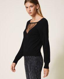 Jersey de lana mixta con tul Negro Mujer 202MP3090-02