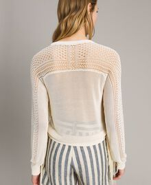 Mesh and lace stitch fringed jumper Ecrù Woman 191TT3063-04
