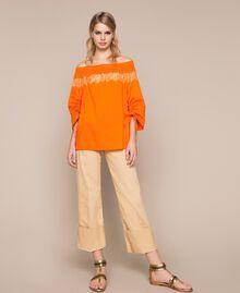 Blouse en popeline avec dentelle Orange «Calendula» Femme 201MT210C-01