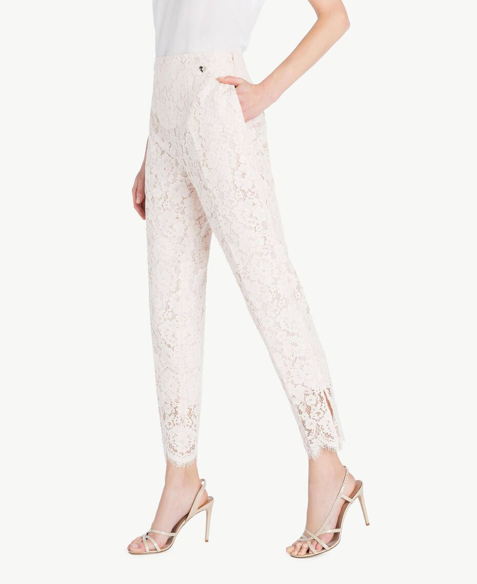 Lace drainpipe trousers Pale Ecru Woman PS82XG-02