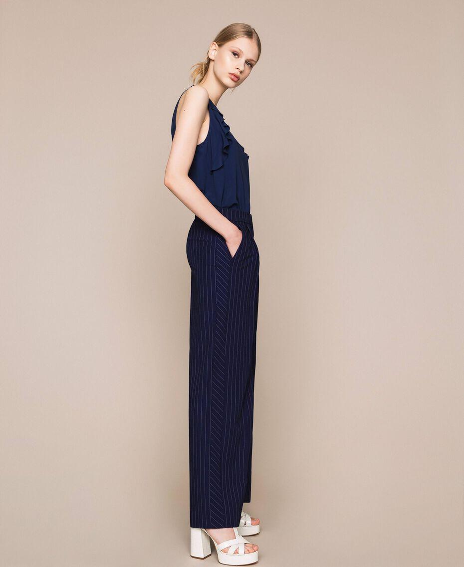 Pin stripe palazzo trousers Midnight Blue Pin Stripe Jacquard Woman 201ST2083-02