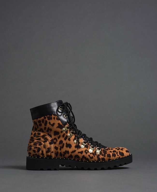 Animal print combat boots Animal Print Woman 192MCP09E-04