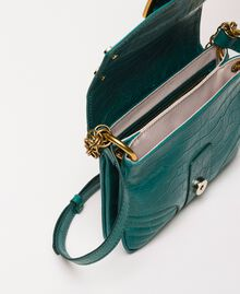 "Small Rebel shoulder bag with croc print ""Python"" Green Croc Print Woman 201TA7111-05"
