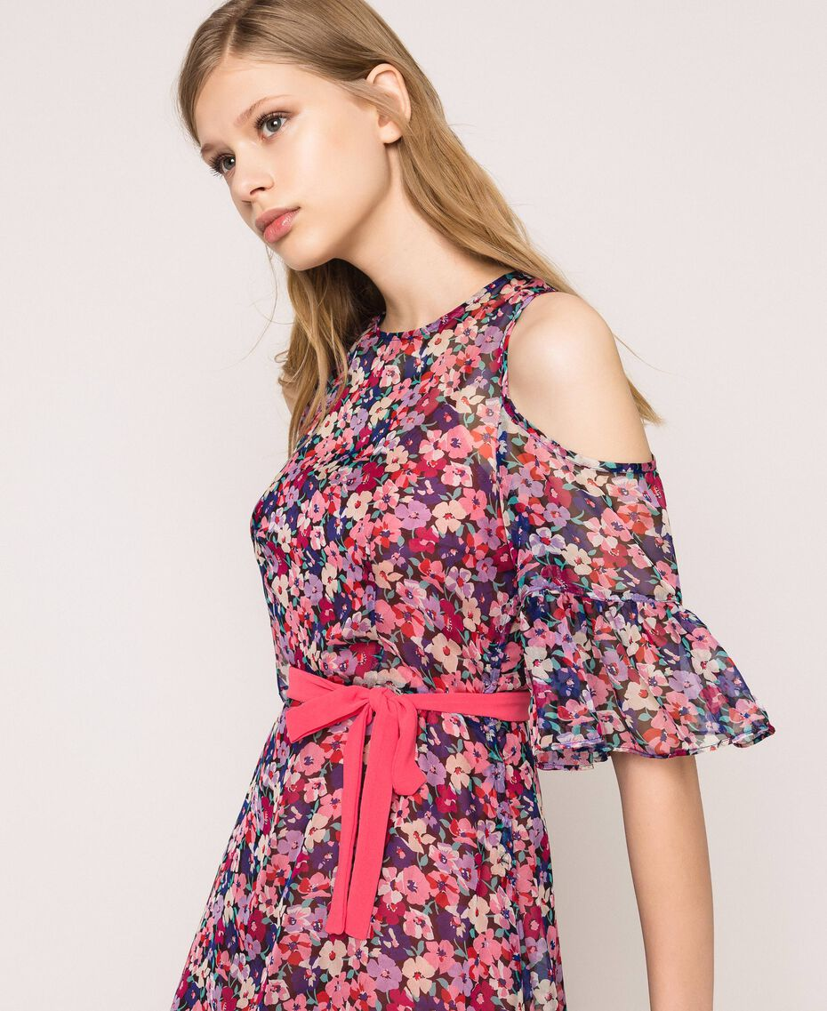 Floral chiffon full-length gown Violet Print Woman 201TP2544-03