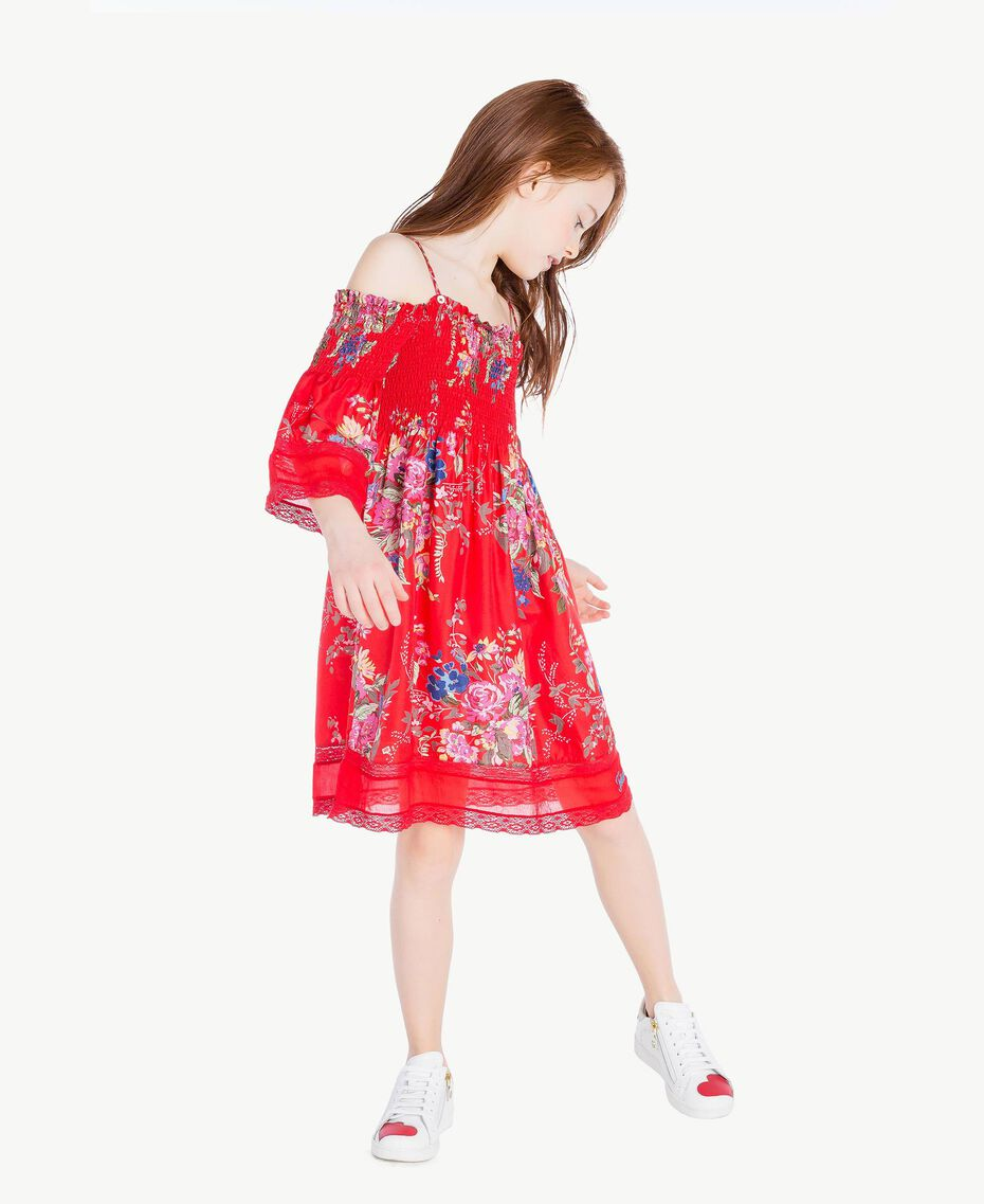 Kleid mit Blumenprint Blumenprint / Granatapfelrot Kind GS82E1-02