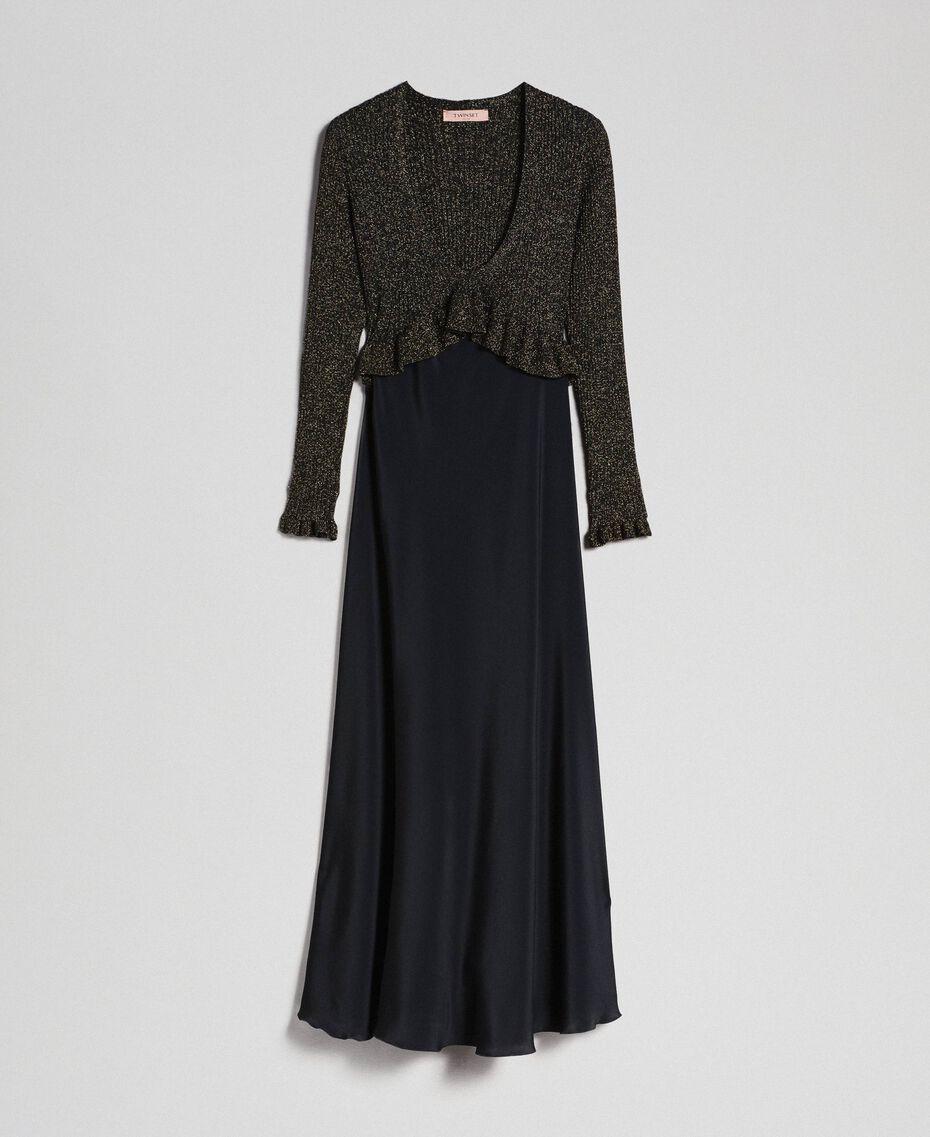 Lurex and silk blend long dress Black Lurex Woman 192TT3170-0S