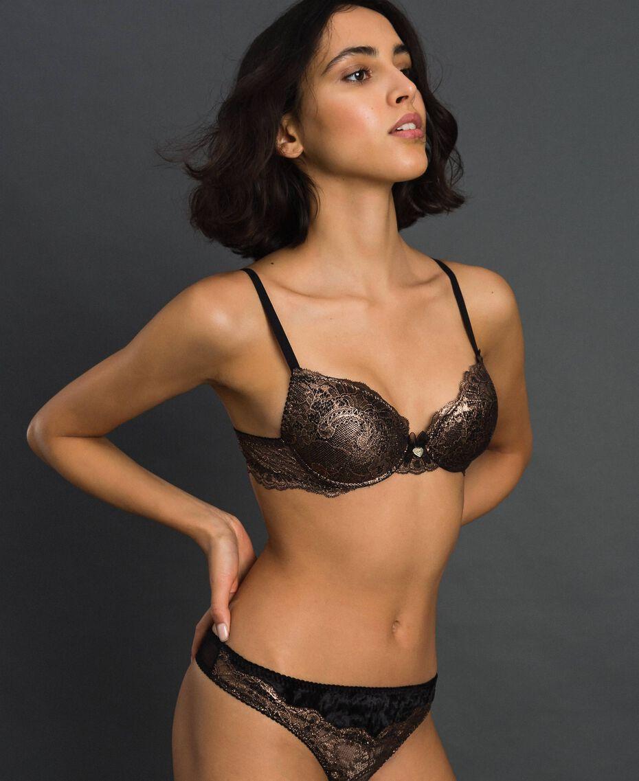 Laminated lace push-up bra Bronze Woman 192LL6H44-02