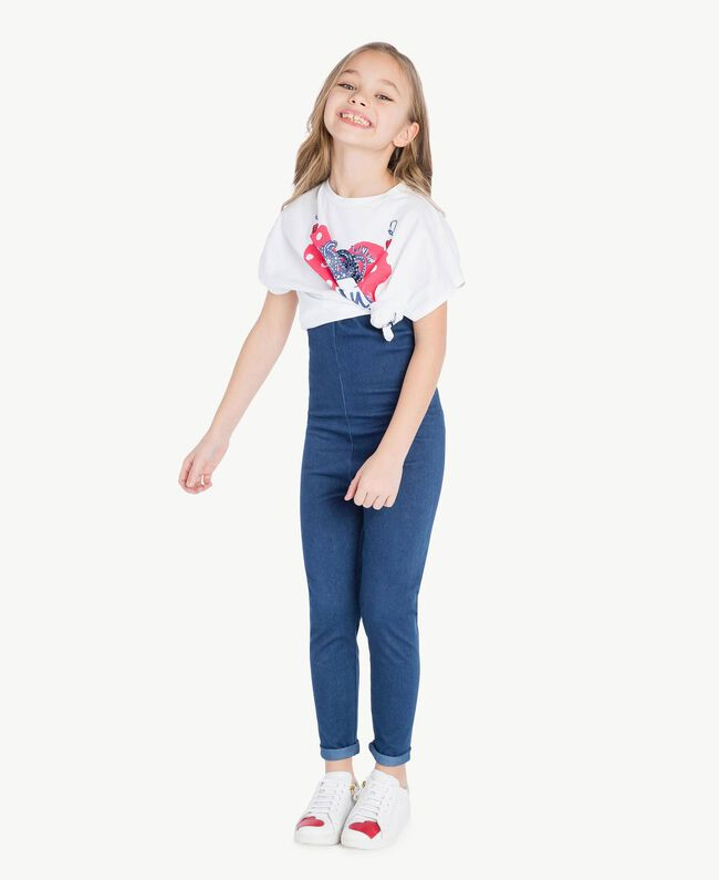 "T-shirt boxy Blanc ""Papers"" Enfant GS82A6-06"