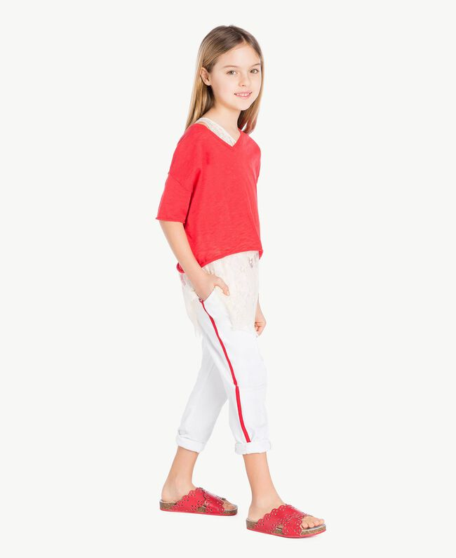 Jumper and lace top Two-tone Pomegranate Red / Chantilly Child GS83DN-05