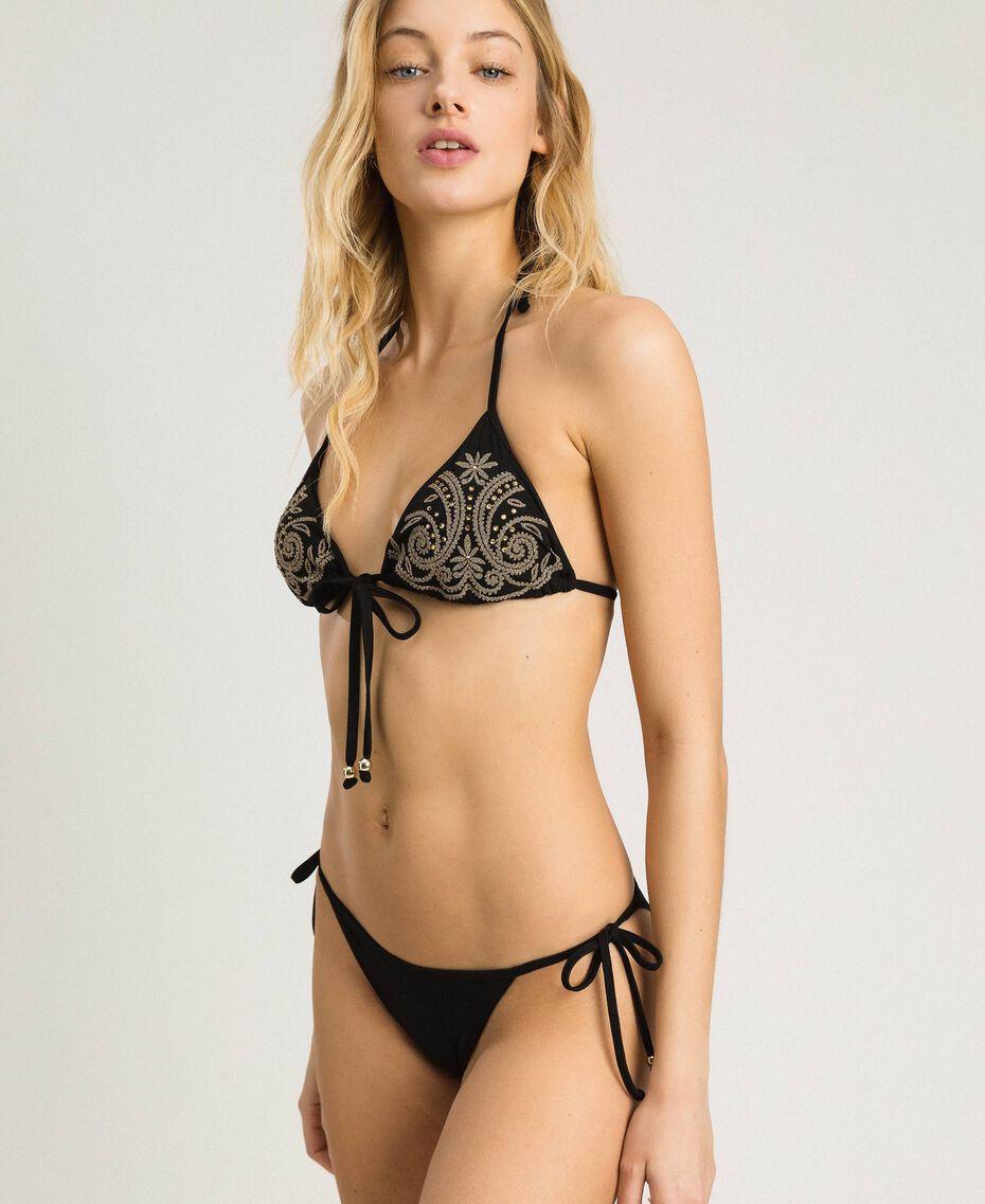 Brazilian-Bikinihose mit Schnürung Schwarz Frau 191LMMB77-0S