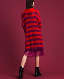 Striped mohair dress with slip Beet Red / Pomegranate Stripe Woman 192TP3270-03