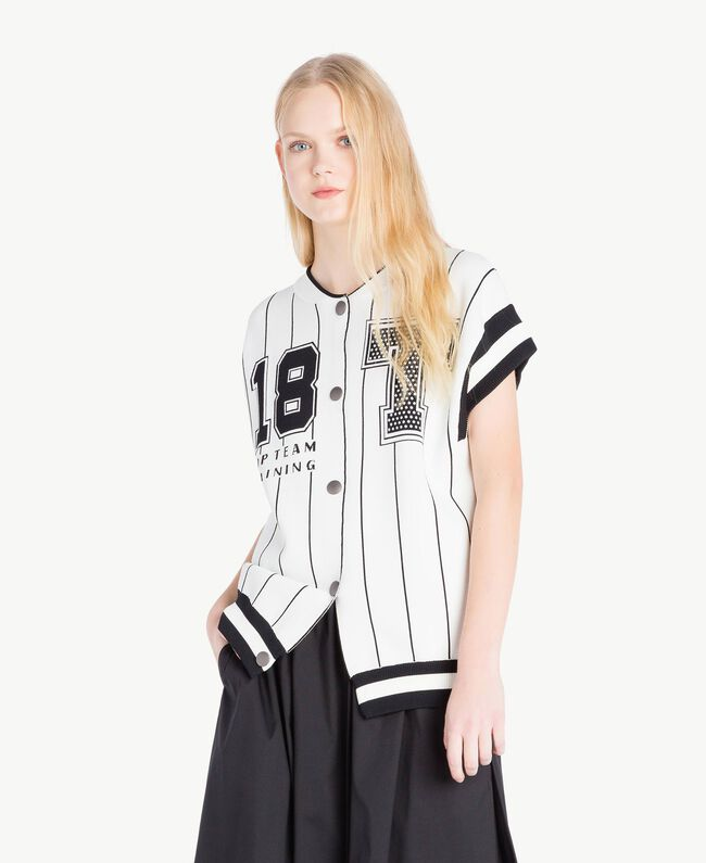 Bomber cardigan Optical White / Black Woman JS83HN-01