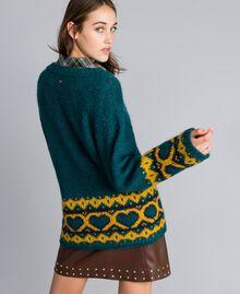 Maxi pull avec cœurs jacquard Vert Jungle Femme YA8312-04
