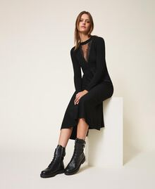 Combat boots with double buckle Black Woman 202TCT112-0S