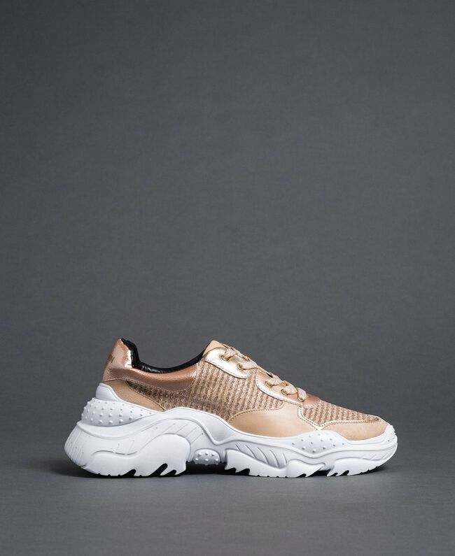 """Glitter fabric running shoes """"Pale Pink"""" Woman 192MCP070-04"""