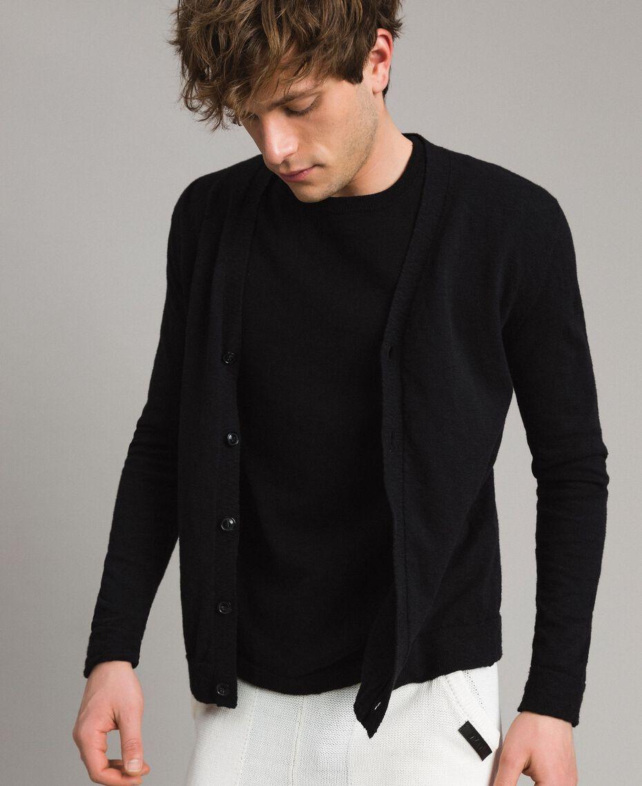 Cotton blend slub cardigan Black Man 191UT3070-02