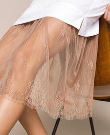 Платье-рубашка из поплина и кружева Двухцветный Белый Оптический / Светло-коричневый женщина 201ST2028-04