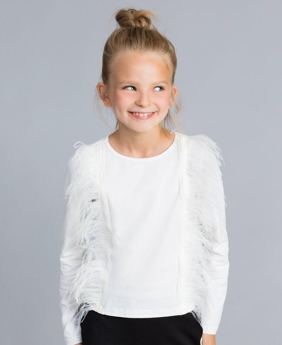 T-shirt en coton avec plumes Off White Enfant GA827B-0S