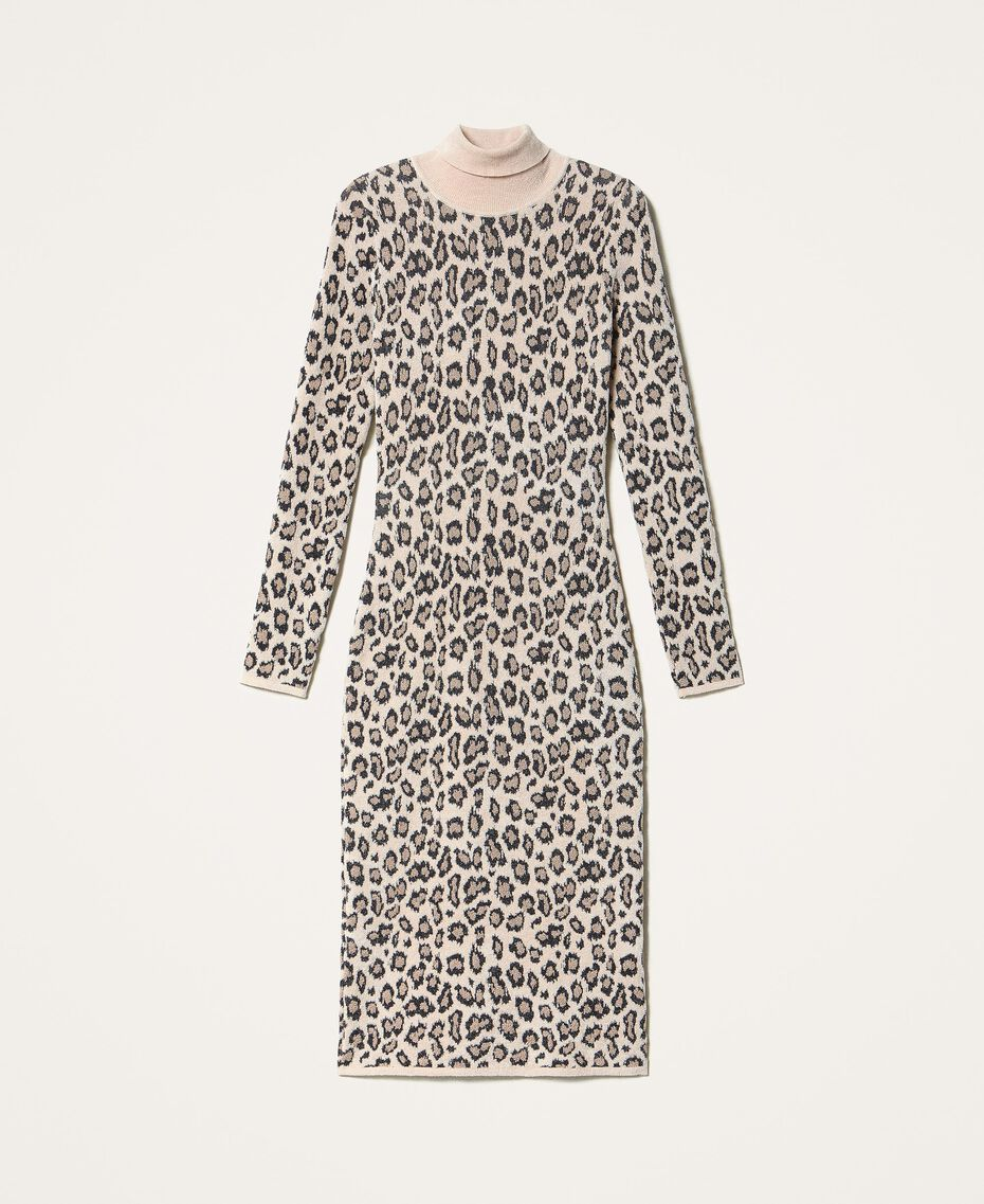 Animal print jacquard sheath dress Animal Jacquard Woman 202TT3160-0S