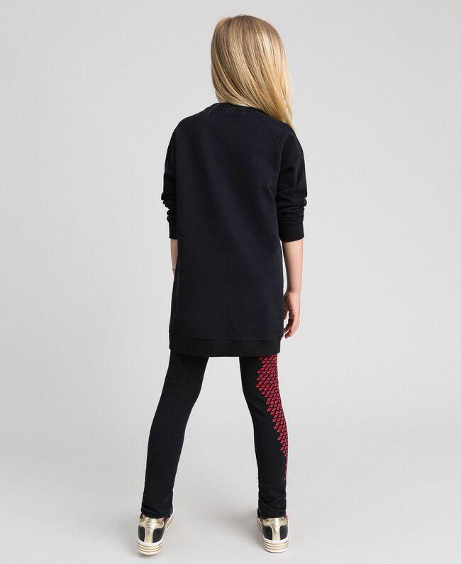 Maxisweatshirt und Leggings mit Herzen Schwarz / Herzchenprint Kind 192GJ2550-03