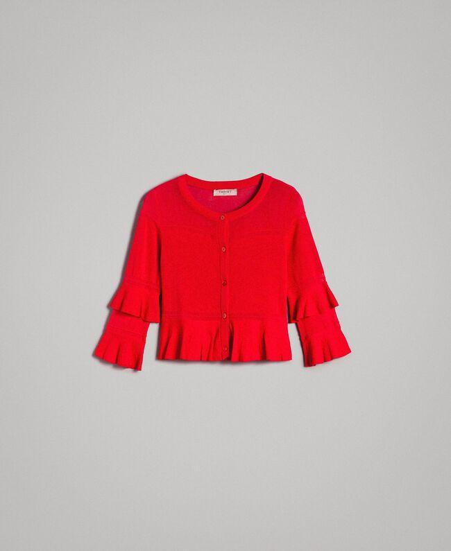 """Cardigan à volants en fil de crêpe Rouge """"Rouge à Lèvres"""" Femme 191TT3020-0S"""