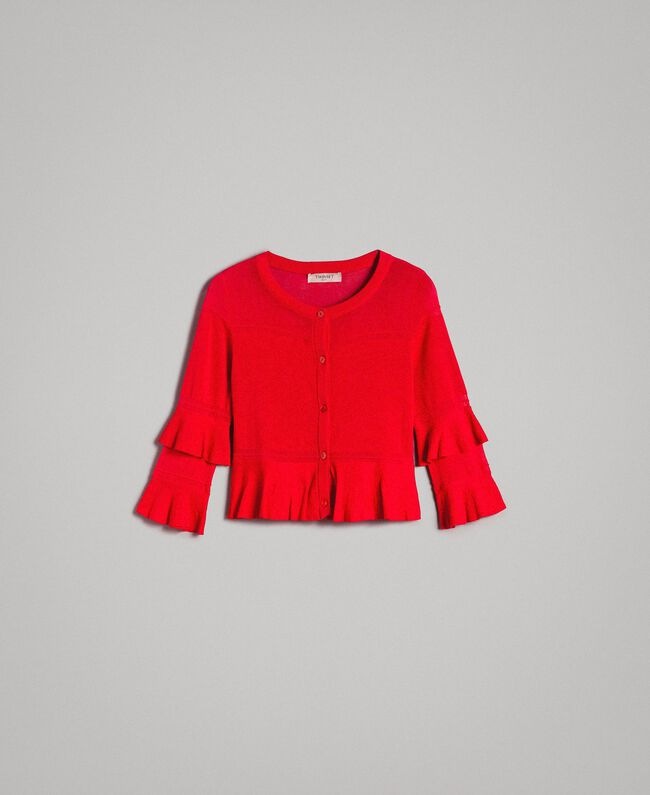 "Crêpe yarn flounced cardigan ""Lipstick Red"" Woman 191TT3020-0S"