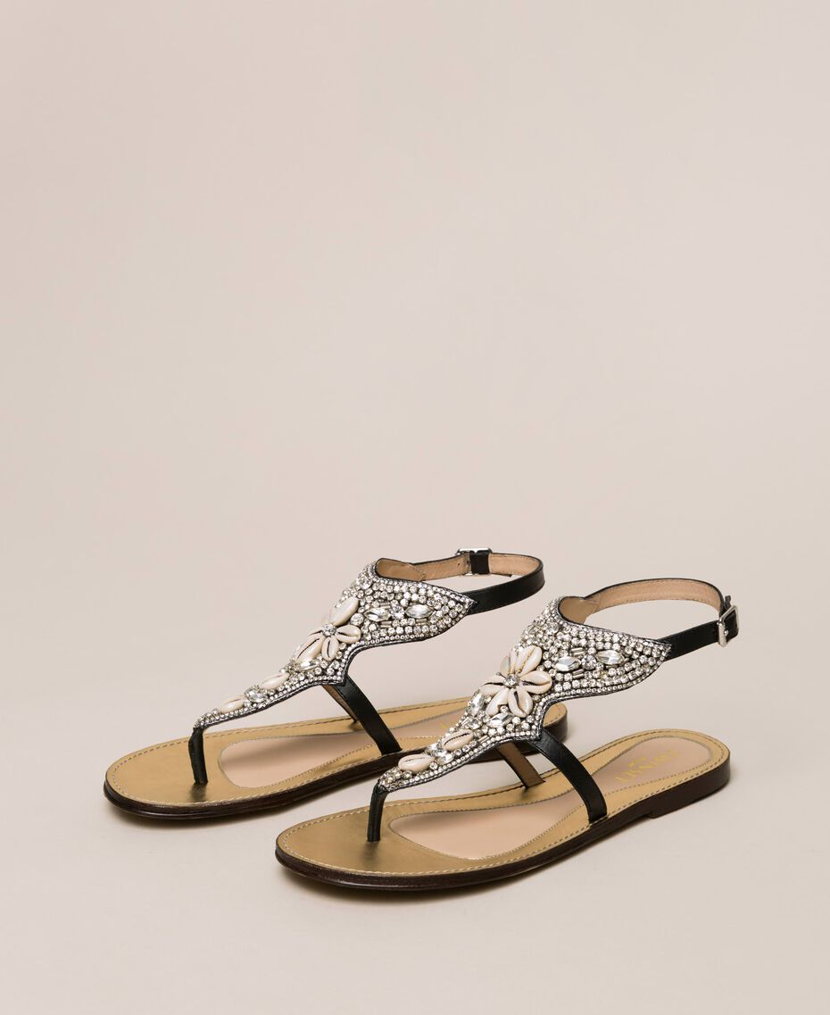 Flache Sandale aus Leder mit Stickerei Nougat Beige Frau 201TCT04E-01