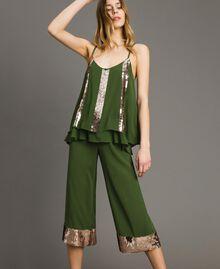 Pantalon cropped avec paillettes Vert Amazone Femme 191LM2CBB-0T
