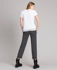 T-shirt avec imprimé et volants Crème White Femme 191MP206D-02