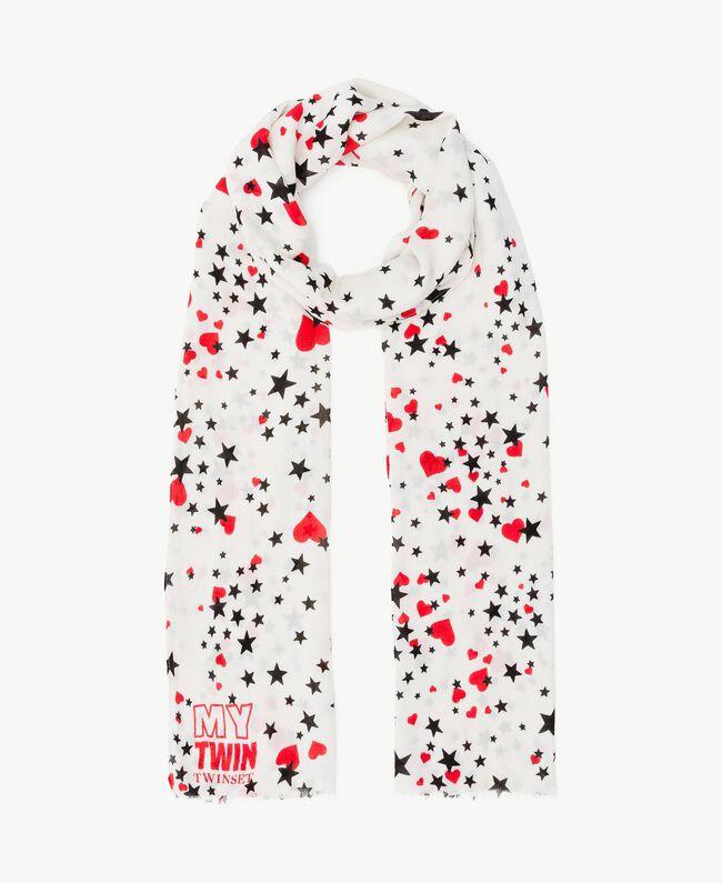 Écharpe imprimée Imprimé Cœurs & Étoiles Blanc Parchemin / Rouge Vermillon Femme VS8P17-01