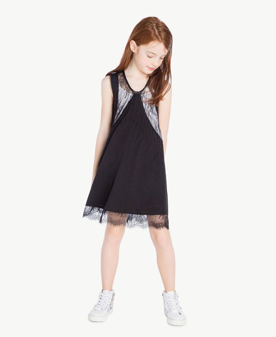 Kleid mit Spitze Zweifarbig Schwarz / Papyrusweiß Kind GS82EE-02