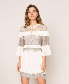 Pleated dress with two-tone lace White Snow Woman 201TT2142-02