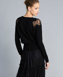 Wool blend jumper with lace inlays Black Woman PA83AC-04