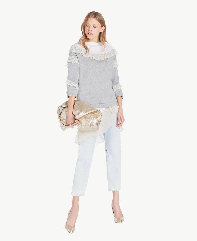 Sweat-shirt tulle Gris clair chiné Femme PS82UR-05