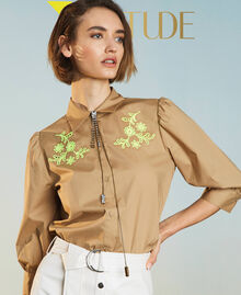 """Poplin shirt with high-vis embroideries """"Biscuit"""" Brown Woman 211MT2093-01"""