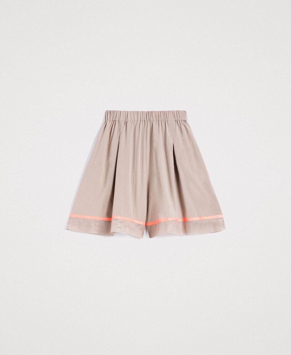 """Short en popeline avec insertions en filet Gris """"Poussière Grise"""" Femme 191LL23SS-0S"""