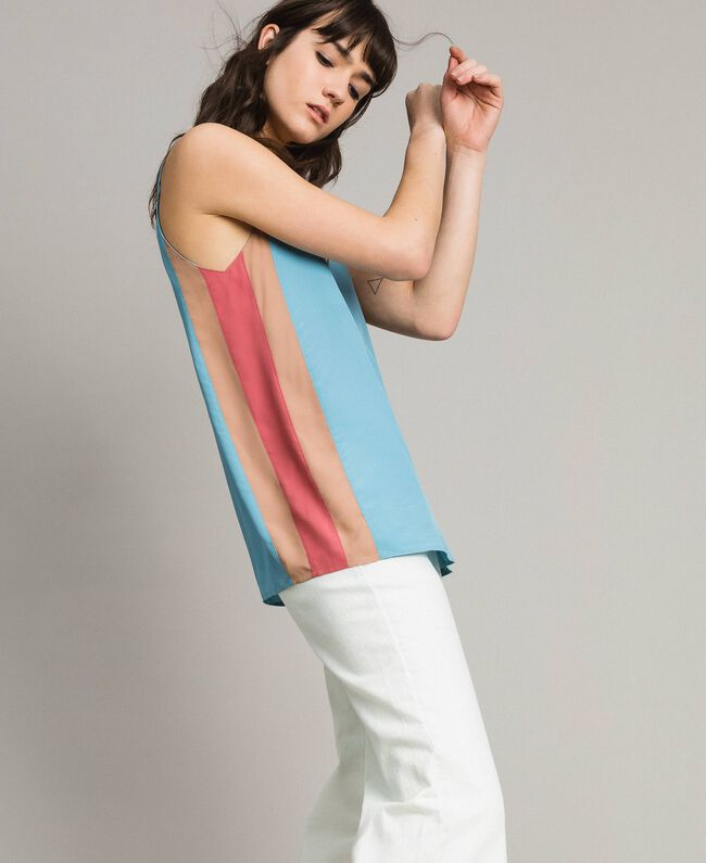 "Top with multicolour panels Multicolour ""Tender Rose"" Pink / Daylight Blue / Porcelain Beige Woman 191LM2HJJ-01"