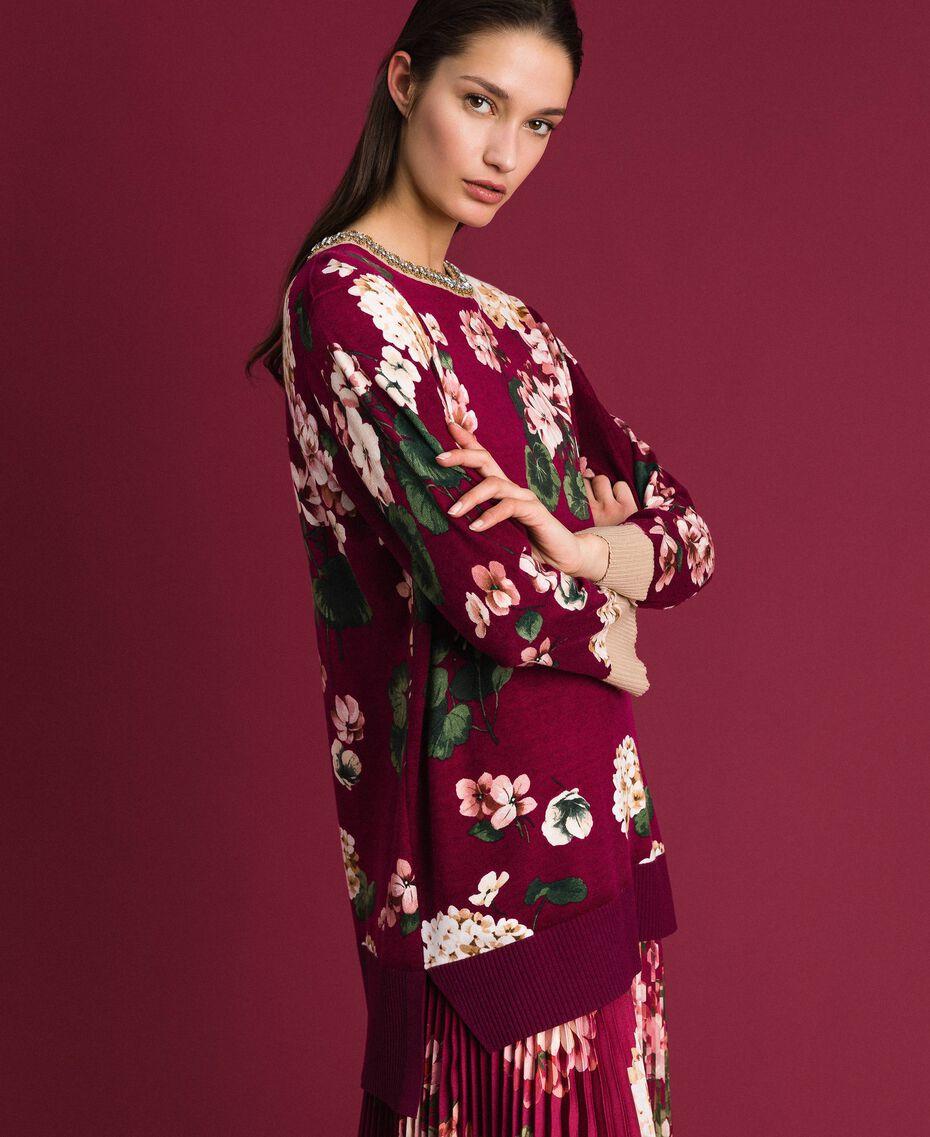 Maxi pull imprimé avec broderie Imprimé Rouge Betterave Géranium Femme 192TP3366-02