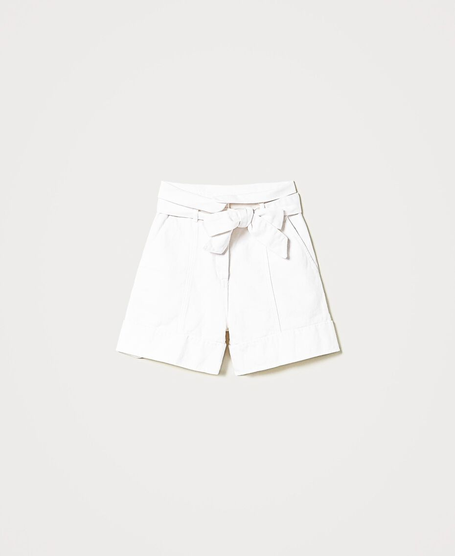 High-Waist-Shorts mit Gürtel Weiß Schnee Frau 211TT2330-0S