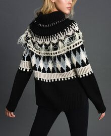 Jacquard jumper with embroideries and feathers Black Fair Isle Jacquard Woman 192TT3311-03