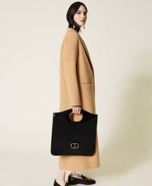 Folded leather clutch Black Woman 212TB7171-0T