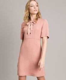 Kleid aus Leinenmischung mit Schleife Perlrosa Frau 191TP2204-02
