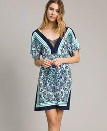Robe en crêpe de Chine avec imprimé foulard Imprimé Foulard Dressing Bleu Nuit Femme 191MT2123-02